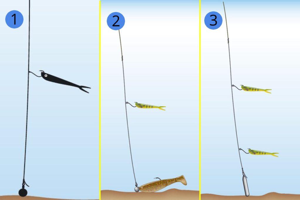 Модификации дроп-шота, 1 - классический, 2- с джиг-головкой, 3 - с несколькими приманками