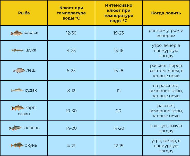 Таблица зависимости клева рыбы от температуры воды